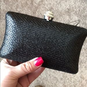 Guess black sparkly clutch